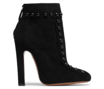 Button-embellished Suede Ankle Boots Black
