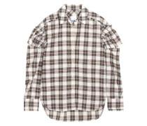 Ruffled Checked Woven Shirt Ecru