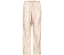 Metallic Pinstriped Cotton-blend Wide-leg Pants Beige