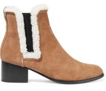 Walker Shearling-trimmed Suede Ankle Boots Tan