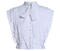 Pussy-bow Pintucked Crepe Top White