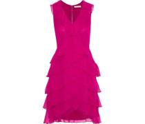 Felicita Tiered Silk-chiffon Mini Dress Fuchsia Size 0