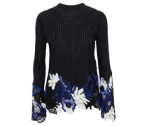 Lace-paneled Metallic Ribbed Wool-blend Sweater Black