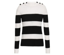 Button-detailed Striped Intarsia-knit Sweater White