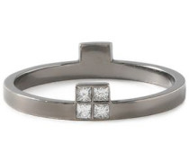 Burnished silver-tone crystal ring