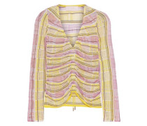 Ruched Metallic Checked Open-knit Top Yellow