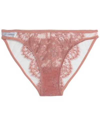 Chantilly lace and tulle low-rise briefs