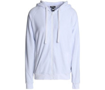Crystal-embellished Cotton-blend Chenille Hooded Sweatshirt White