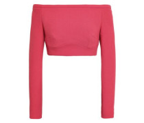 Cropped Off-the-shoulder Wool-crepe Top Coral