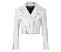 Cropped Leather Biker Jacket White