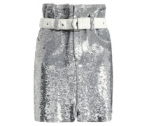Belted Sequined Stretch-knit Mini Skirt Silver