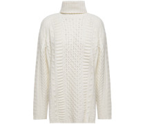 Woman Cable And Open-knit Turtleneck Sweater Ivory