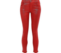 Woman 835 Cropped Tie-dyed Mid-rise Skinny Jeans Crimson
