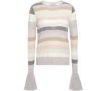 Fluted Striped Cashmere Sweater Neutral