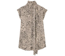 Pussy-bow Pleated Leopard-print Silk Crepe De Chine Blouse Beige