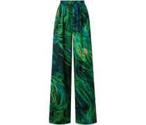 Printed Silk-georgette Wide-leg Pants Green