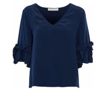 Ruffle-trimmed washed-silk blouse