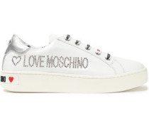 Studded Logo-print Leather Sneakers White