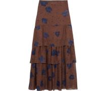 Tiered printed silk-chiffon maxi skirt