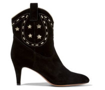 Georgia leather-trimmed suede ankle boots