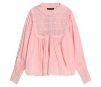 Lace-paneled ruffle-trimmed gathered cotton-gauze blouse