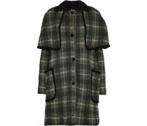 Metallic checked cape-effect coat