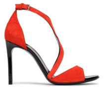 Suede Sandals Tomato Red