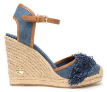 Shaw Fringed Denim Wedge Espadrilles Mid Denim