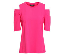 Cold-shoulder Cotton-blend Jersey Top Fuchsia