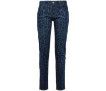 Leopard-print Mid-rise Skinny Jeans Dark Denim  9