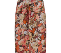 Skirt in metallic floral-jacquard