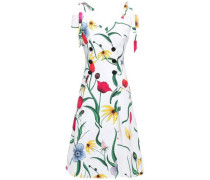 Cold-shoulder Floral-print Cotton-blend Faille Midi Dress White Size 0