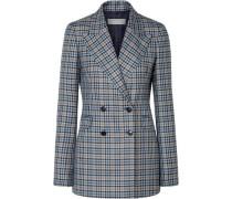 Angela Checked Silk And Wool-blend Blazer Light Blue