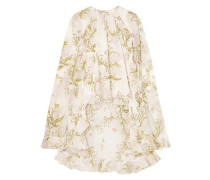 Cape-effect Floral-print Silk-chiffon Blouse Ivory