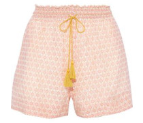 Vera Printed Cotton And Silk-blend Shorts Baby Pink