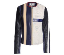 Grosgrain-trimmed paneled leather jacket
