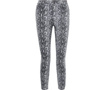 Woman Good Cropped Snake-print High-rise Skinny Jeans Animal Print