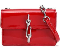 Chain-trimmed Patent-leather Shoulder Bag Red Size --