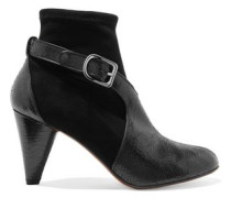 Textured patent-leather and suede boots