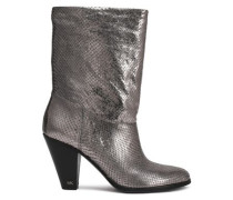Divia Metallic Snake-effect Leather Ankle Boots White Gold