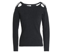 Cutout Stretch-knit Top Anthracite