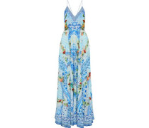 A Night To Remember crystal-embellished printed silk maxi dress