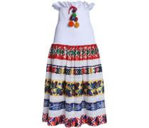 Shirred printed satin and broderie anglaise cotton midi skirt