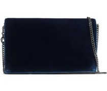 Studded Two-tone Velvet Shoulder Bag Navy Size --