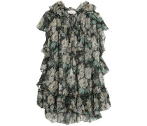 Ruffled floral-print fil coupé silk-blend blouse