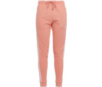 Woman Striped French Cotton-terry Track Pants Peach