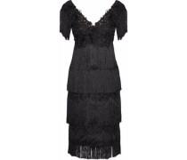Fringed Embellished Tulle Dress Black