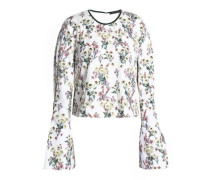 Velvet-trimmed floral-print cotton top