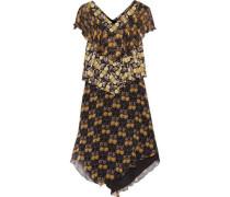 Ruffled tiered printed silk-chiffon dress
