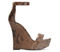 Snake-effect leather wedge sandals